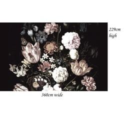 Vliesbehang - 360x229cm - donkere bloemen