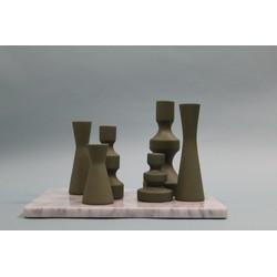 Laura kandelaar - Mat groen- 8 x 16 cm