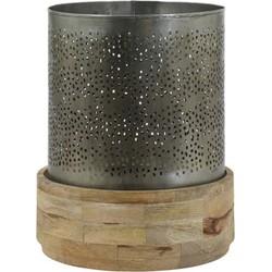 Windlicht Ø29x35 cm AMBIKA hout naturel en zink
