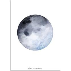 Maan - La Luna - Waterverf stijl - Interieur poster - Wanddecoratie - Grijs Blauw  - A4 poster zonder fotolijst