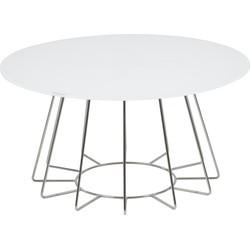24Designs Salontafel Capri - Ø80 X H40 Cm - Chroom - Wit Glazen Tafelblad