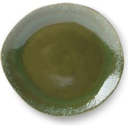 HK-living bord, dinerbord keramiek groen seventies style Ø 29 cm