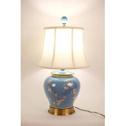 Fine Asianliving Fine Asianliving Oosterse tafellamp Porselein Handbeschilderd Gemberpot Blauw