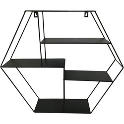 Wandrek hexagon zwart - 50 cm - Housevitamin