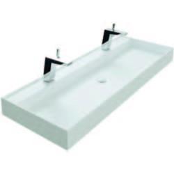 Thebalux Snow wastafel Solid Surface zonder kraangat 120,2x45x10cm Mat wit