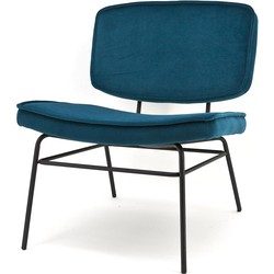 BY-BOO Vice Relax Fauteuil - Fluweel Ocean Blauw