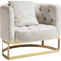 Nordal  fauteuil créme wit velvet met gouden frame