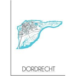 Dordrecht Plattegrond poster - A2 + Fotolijst zwart