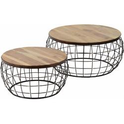 Wire - Salontafels - set van 2 - rond - houten blad - onderstel metaaldraad - antiek koper finish