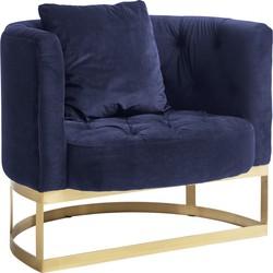 Nordal fauteuil blauw velvet met gouden frame