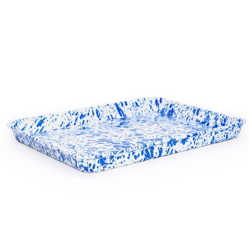 Crow Canyon Emaille Retro Dienblad Ovenschaal Groot Blue Marble -