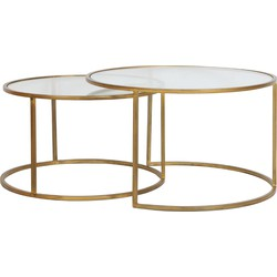 Light&Living Salontafel Duarte Goud Set van 2 44 x Ø75