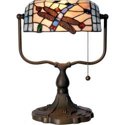 Clayre & Eef Tiffany bankierslamp met libelle