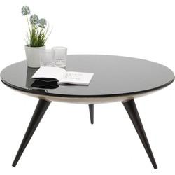 Kare Design - Ronde Salontafel Secrets - 90 Cm - Zwart Glazen Tafelblad