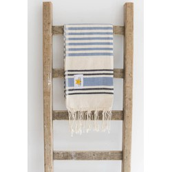 Mycha Ibiza - hamamdoek – streep – denimblauw – 100% handgeweven katoen