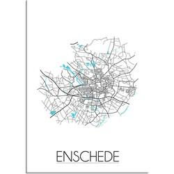 Enschede Plattegrond poster - A2 + Fotolijst wit