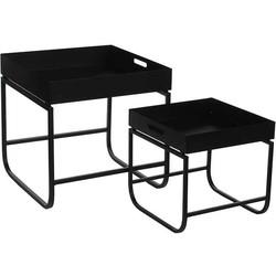 Mica Decorations tafel zwart set van 2 grootste maat in cm: 40 x 40,5 x 40