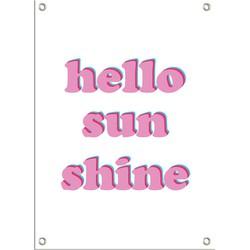 Tuinposter Hello Sunshine - Roze rood blauw Retro met ringen - 40 x 60 cm