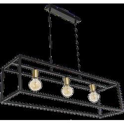 Hanglamp Atri 3 lichts zwart + goud