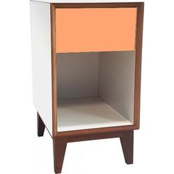 PIX nachtkastje groot met wit frame en oranje voorkant