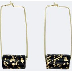 Gold Rectangle Earrings - Black and Specks Bead