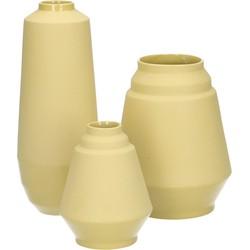 set van 3 vazen Hella Duijs oker geel