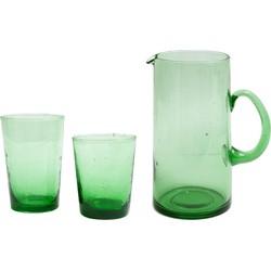 Groene karaf met 6 waterglazen M-L (M) Medium