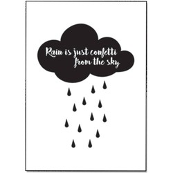 Zwart wit ansichtkaart - Rain is just confetti from the sky - DesignClaud