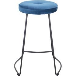 Set van 4 barkrukken - Bristol barkruk - velvet blauw