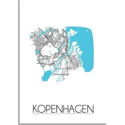 Kopenhagen - Stadskaart - Plattegrond - Interieur poster - Wit