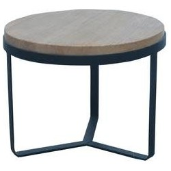 Fine Asianliving Salontafel Rond Hout/Staal licht