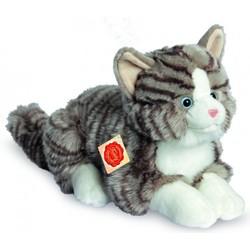 Knuffel Kat Grijs Getijgerd Liggend - Hermann Teddy