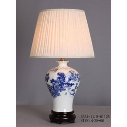 Fine Asianliving Fine Asianliving Oosterse Tafellamp Porselein Wit Blauw Landschap
