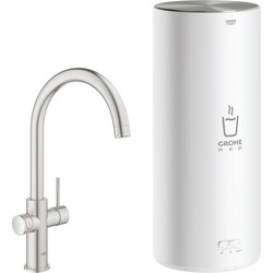 Grohe Red New Duo kokend water kraan met C-uitloop en Combi boiler supersteel