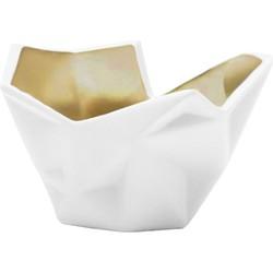 Laura Waxinelichthouder - wit/goud 11 x 8 cm