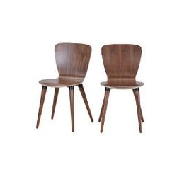 2 x Edelweiss Dining Chairs, Walnut and Black, Black
