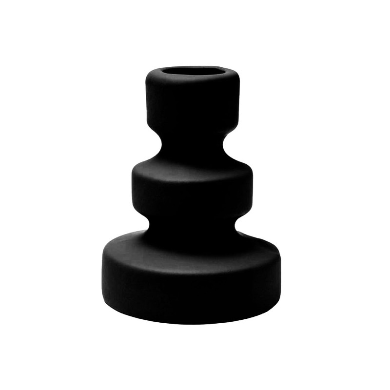 Laura kandelaar - Mat zwart - 8 x 10 cm -