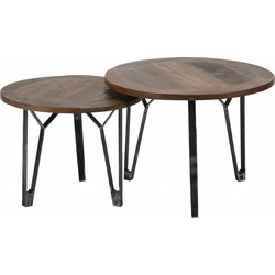 Recycled - Salontafels - set van 2 - rond - Massief gerecycled hout - metalen V-poot