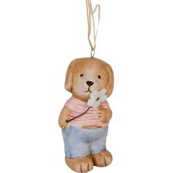 Clayre & Eef Decoratie hond hangend 4x3x7 cm