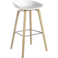 Hay About a stool Bar stool - H 75 cm - Plastic & wood legs. White,Light wood