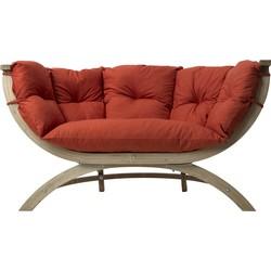 Amazonas Lounge Tuinbank Siena Due - Hout - Terracotta Kussens