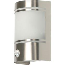 Ranex Wandlamp voor Buiten, Bewegingssensor, Geborsteld Aluminium, Halfrond, E27 Fitting