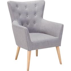 Fauteuil grijs - oorfauteuil - relaxfauteuil - tv-stoel - stoffen fauteuil - ANGEN