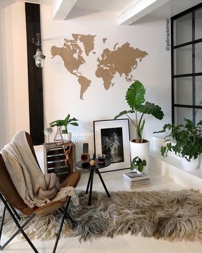 Op onze wishlist: houten wereldkaart