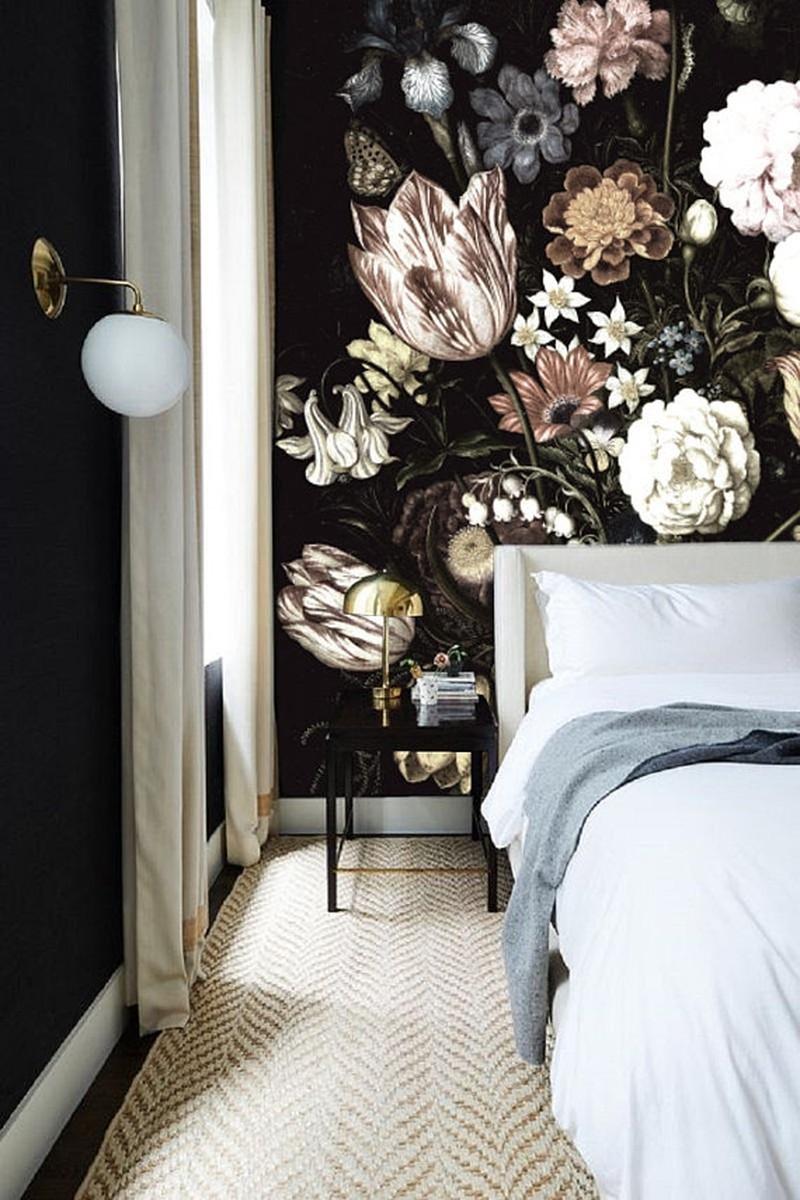 Vliesbehang - 305x260cm - donkere bloemen -