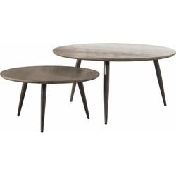 Salontafels - set van 2 - rond - eik - greywash - driepoot