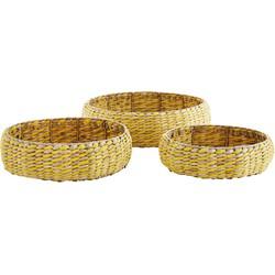 Madam Stoltz trays rond gevlochten set van 3 naturel/geel
