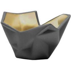 Laura Waxinelichthouder - grijs/goud 11 x 8 cm