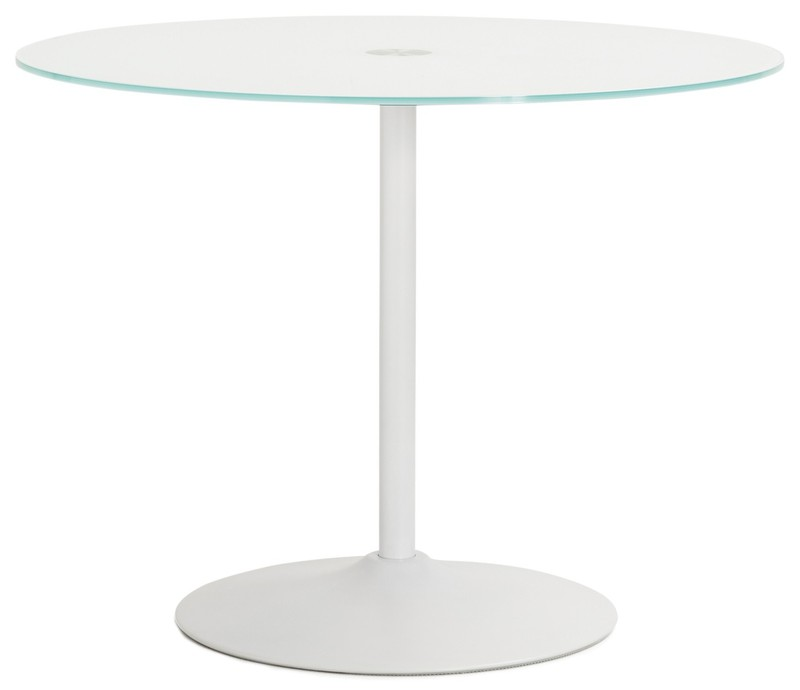 Ronde Glas Tafel.24designs Tafel Quinn Rond O100 Wit Glazen Tafelblad 24designs