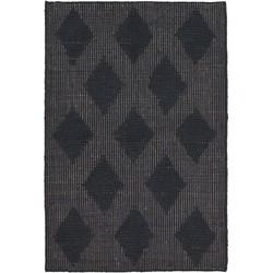 House Doctor Vloerkleed Cubie Zwart Jute Rubber 130 x 85 cm